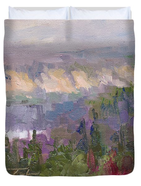 Silver And Gold - Matanuska Canyon Cliffs River Fireweed Duvet Cover