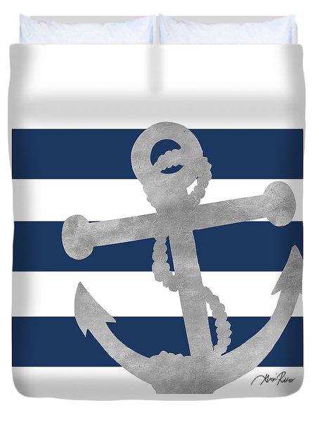 Silver Coastal On Blue Stripe I Duvet Cover