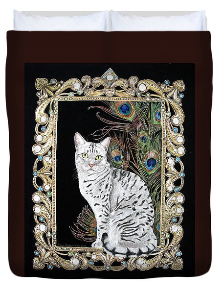 Silver Egyptian Mau Duvet Cover