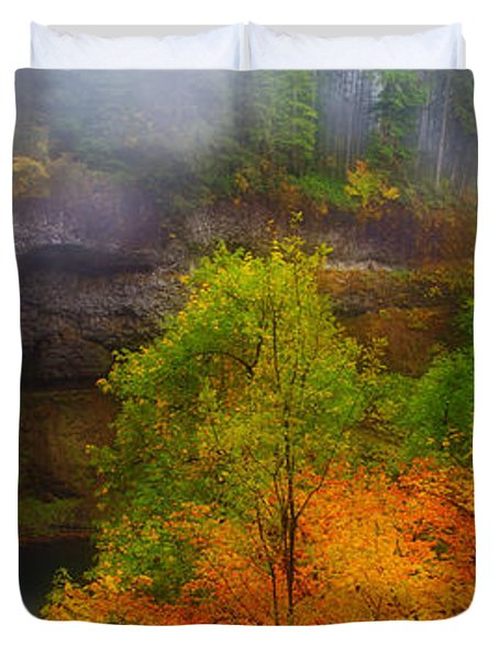 Silver Falls Pano Duvet Cover by Darren  White