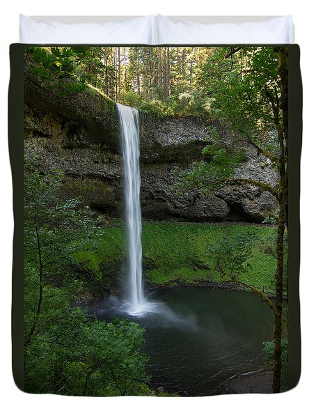 Duvet Cover featuring the photograph Silver Falls Silver Mist by Paul Rebmann