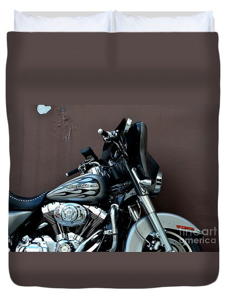 Silver Harley Motorcycle Duvet Cover by Imran Ahmed