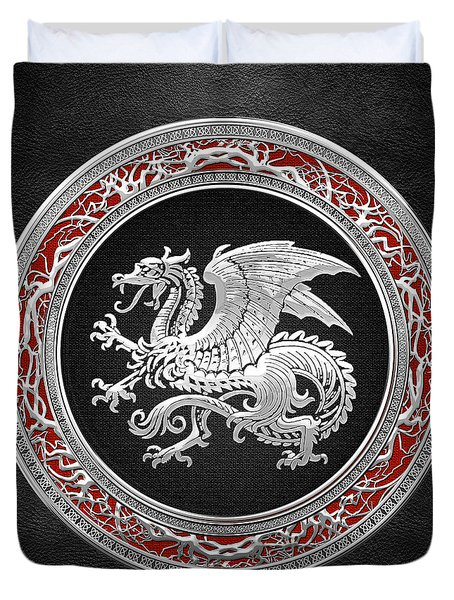 Silver Icelandic Dragon  Duvet Cover