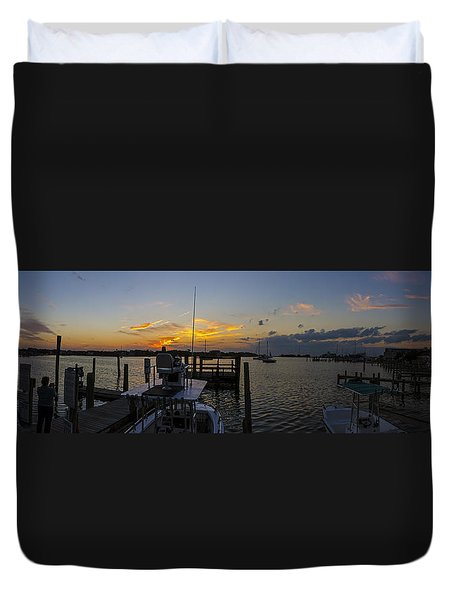 Silver Lake Sunset Panorama Duvet Cover by Greg Reed