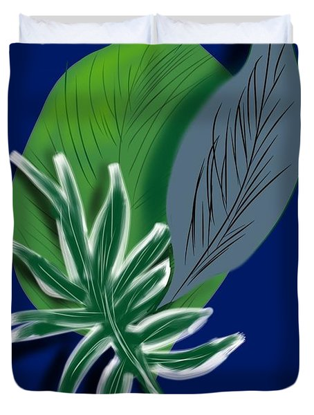 Duvet Cover featuring the digital art Silver Leaf And Fern I by Christine Fournier