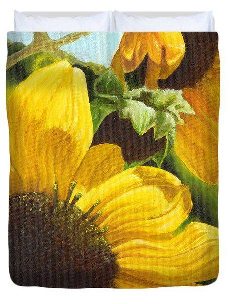 Silver Leaf Sunflowers Duvet Cover