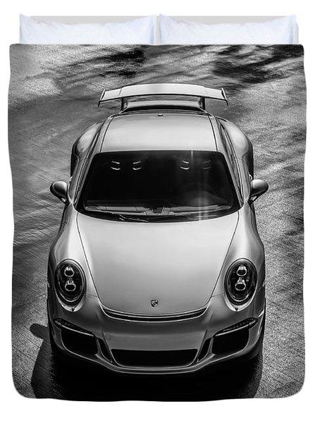 Duvet Cover featuring the digital art Silver Porsche 911 Gt3 by Douglas Pittman
