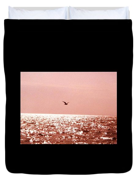 Duvet Cover featuring the photograph Silvery Seagull Solo Flight by Belinda Lee