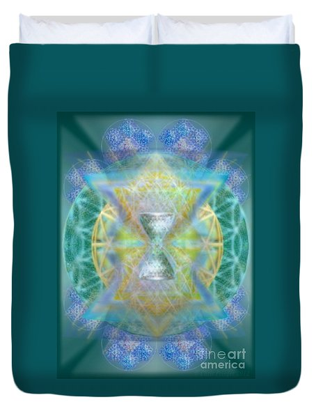 Duvet Cover featuring the digital art Silver Torquoise Chalicell Ring Flower Of Life Matrix by Christopher Pringer