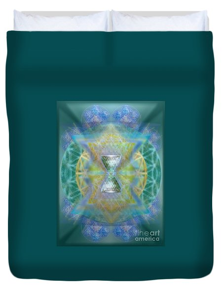 Silver Torquoise Chalicell Ring Flower Of Life Matrix II Duvet Cover