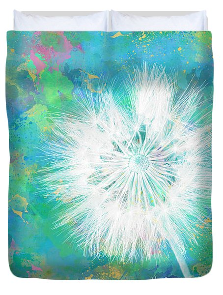 Silverpuff Dandelion Wish Duvet Cover by Nikki Marie Smith