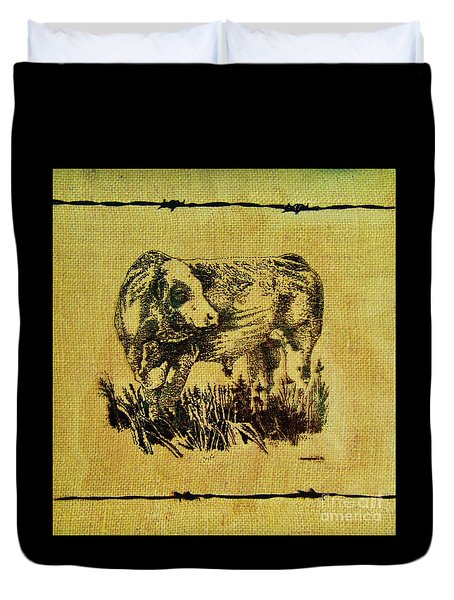 Duvet Cover featuring the drawing Simmental Bull 12 by Larry Campbell