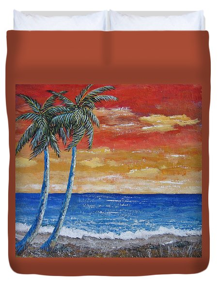 Duvet Cover featuring the painting Simple Pleasure by Suzanne Theis