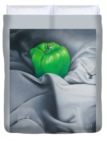 Duvet Cover featuring the painting Simply Green by Pamela Clements