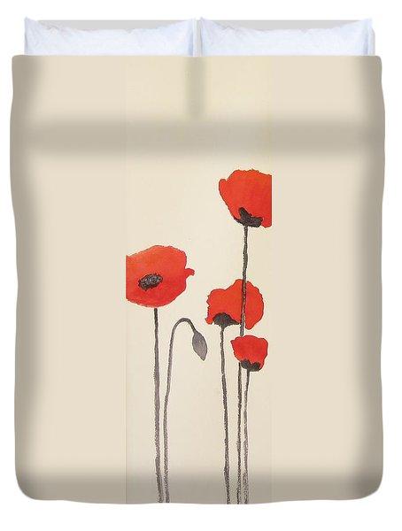 Simply Poppies 2. Duvet Cover by Elvira Ingram