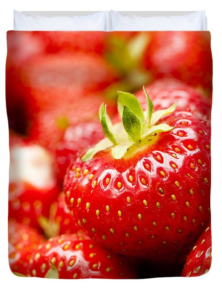 Simply Strawberries Duvet Cover by Anne Gilbert