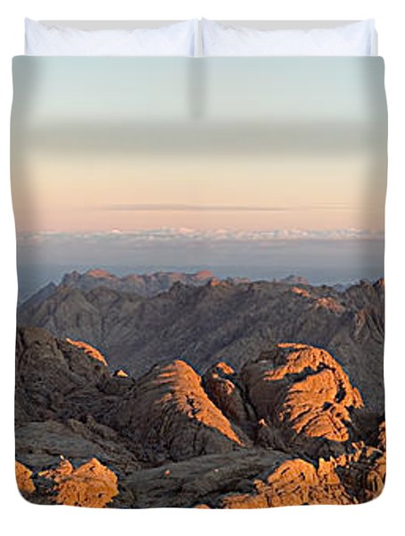 Duvet Cover featuring the pyrography Sinai Mountains Just After Sunrise by Julis Simo