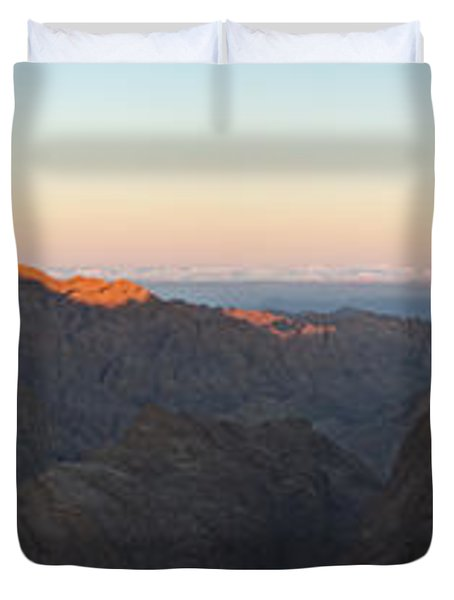 Duvet Cover featuring the pyrography Sinai View From St. Catherine Montain On Sunrise by Julis Simo
