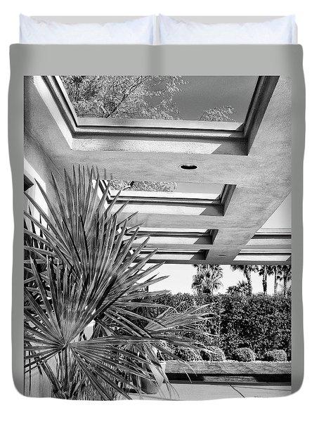 Sinatra Patio Bw Palm Springs Duvet Cover