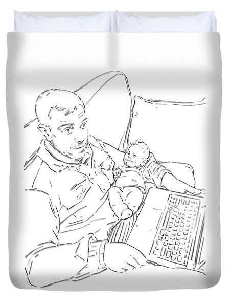 Duvet Cover featuring the drawing Sing Me To Sleep Daddy by Olimpia - Hinamatsuri Barbu