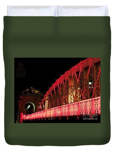 Singapore Anderson Bridge At Night Duvet Cover