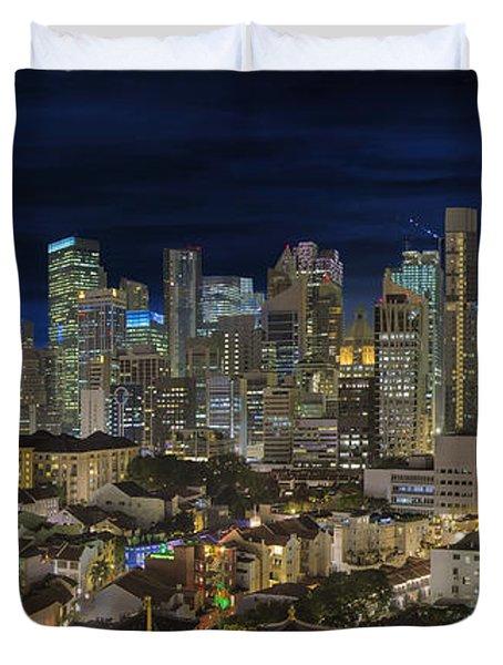 Singapore Central Business District Skyline And Chinatown At Dus Duvet Cover by David Gn