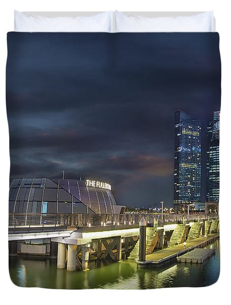 Singapore City By The Fullerton Pavilion At Night Duvet Cover by David Gn