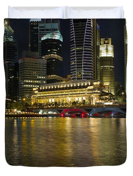 Singapore City Skyline At Night Duvet Cover by David Gn