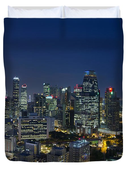 Singapore Cityscape At Blue Hour Duvet Cover by David Gn