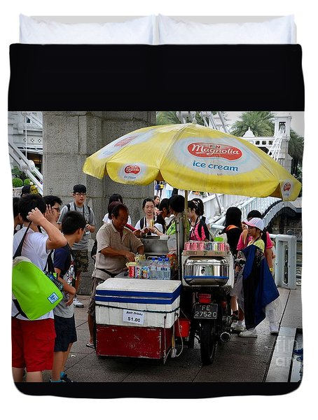 Singapore Ice Cream Man And Bicycle Swamped By Students Duvet Cover by Imran Ahmed