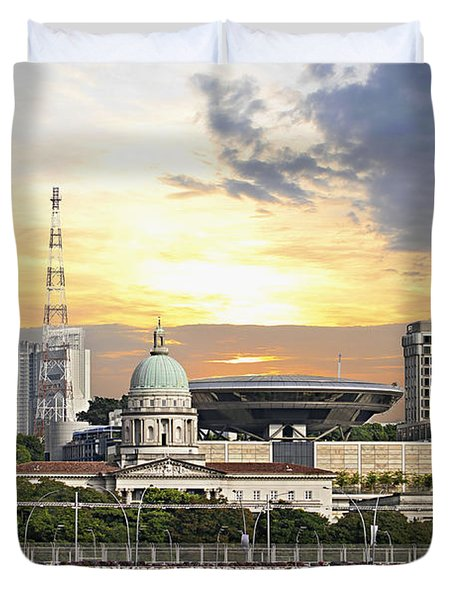 Singapore Parliament Building And Supreme Law Court  Duvet Cover by David Gn