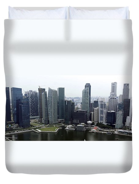 Duvet Cover featuring the photograph Singapore Skyline by Shoal Hollingsworth