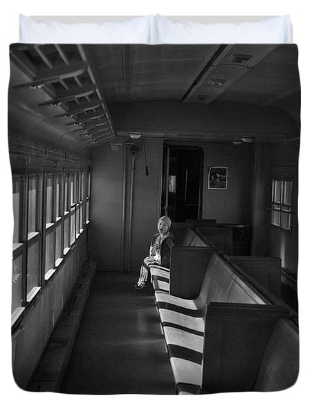Duvet Cover featuring the photograph Singin' In The Train by Jeremy Rhoades
