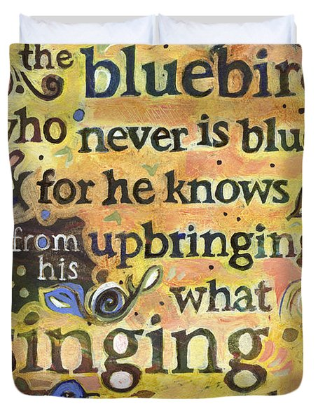 Singing Bluebird Cole Porter Painted Quote Duvet Cover