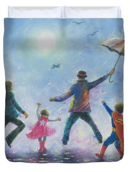 Singing In The Rain Super Hero Kids Duvet Cover by Vickie Wade