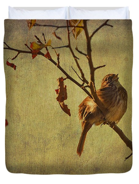 Duvet Cover featuring the photograph Singing Sparrow by Peggy Collins