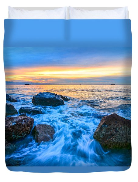 Singing Sunrise Singing Beach Duvet Cover