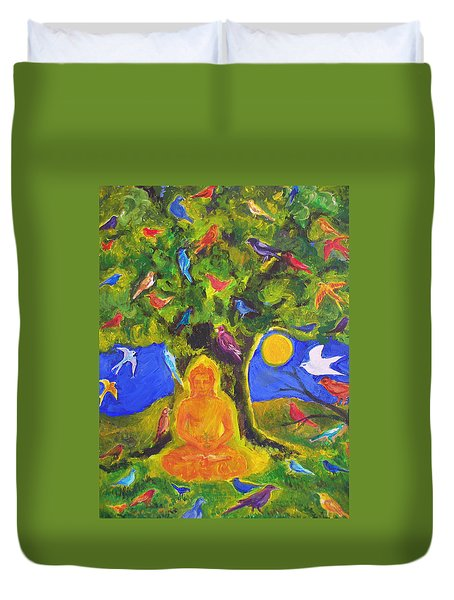 Buddha And The Birds Duvet Cover
