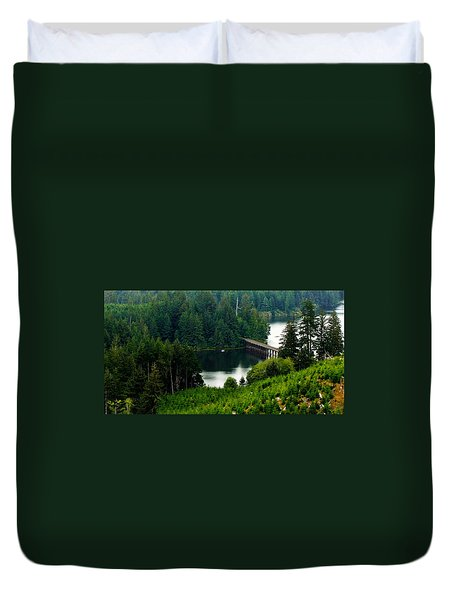 Duvet Cover featuring the photograph Single Boat by Katie Wing Vigil