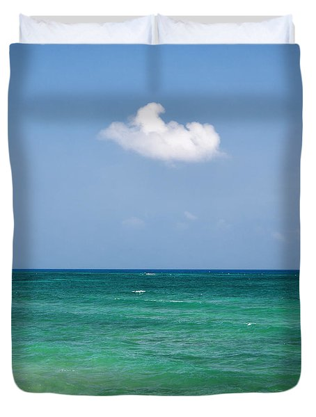Single Cloud Over The Caribbean Duvet Cover
