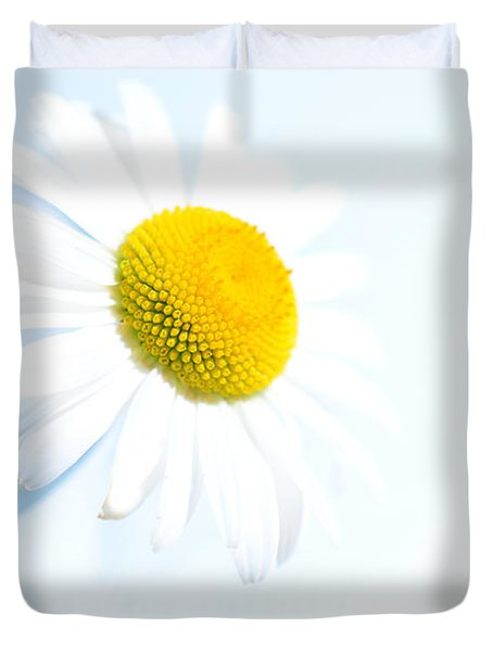 Single Daisy Flower In Vase Duvet Cover by Sabine Jacobs