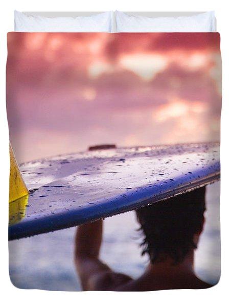 Single Fin Surfer Duvet Cover