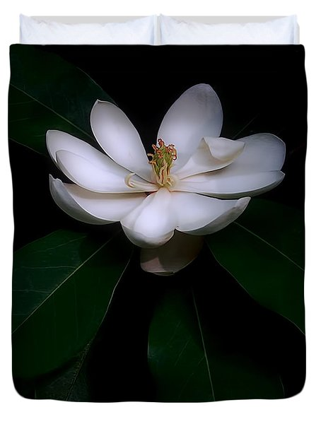 Duvet Cover featuring the photograph Sweet White Magnolia Bloom by Louise Kumpf