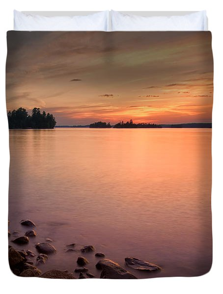 Sioux Narrows Sunset Duvet Cover