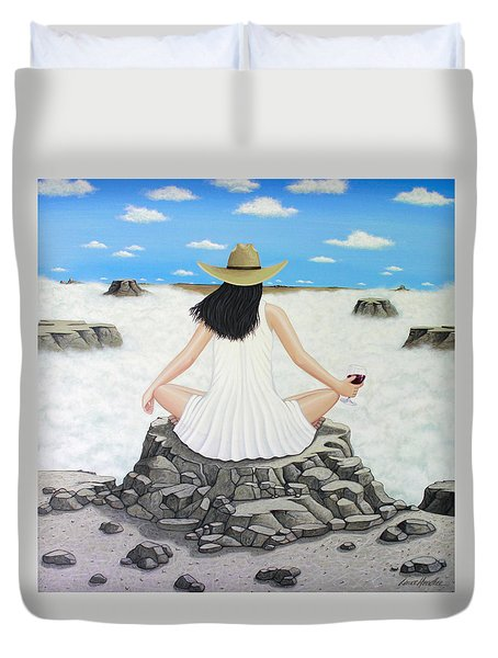 Sippin' On Top Of The World Duvet Cover by Lance Headlee