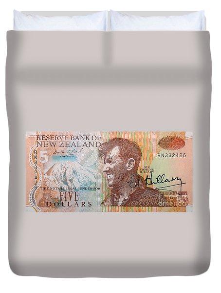 Sir Edmund Hillary Signed Banknote Duvet Cover