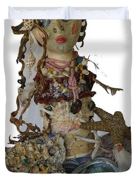 Duvet Cover featuring the sculpture Siren by Avonelle Kelsey