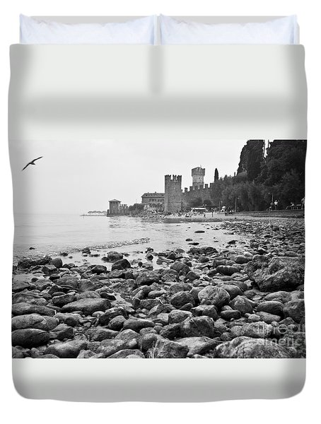 Duvet Cover featuring the photograph Sirmione Castle by Simona Ghidini