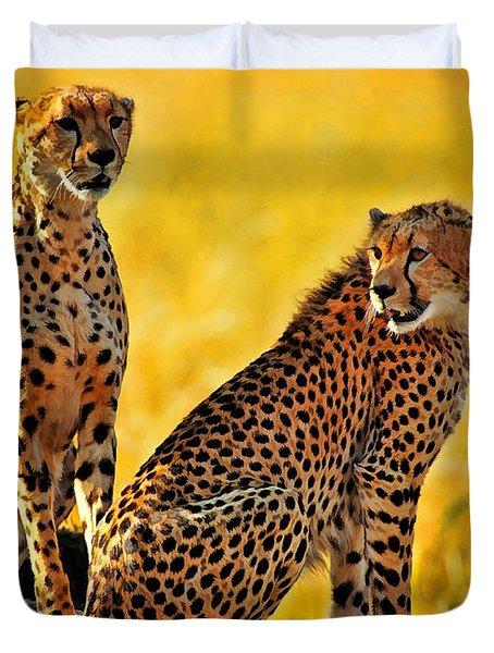 Sister Cheetahs Duvet Cover