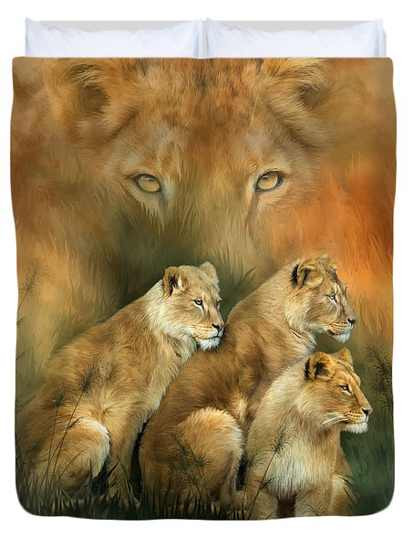 Sisterhood Of The Lions Duvet Cover by Carol Cavalaris